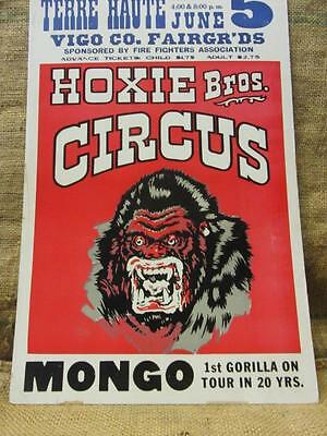Vintage 1976 Hoxie Brothers Circus Gorrilla Poster > Antique Old Fair 9741