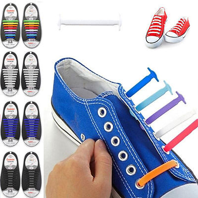 16Pcs Elastic Silicone Lazy Shoelaces No Tie Laces Shoe Sneakers Trainer