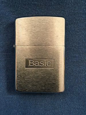 Vintage BASIC CIGARETTES ZIPPO Lighter NOS Tobacco Brushed Stainless Red Menthol
