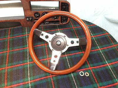Saab c900 / Classic 900 Steering Wheel, Wood, Leather & Chrome by Mountney