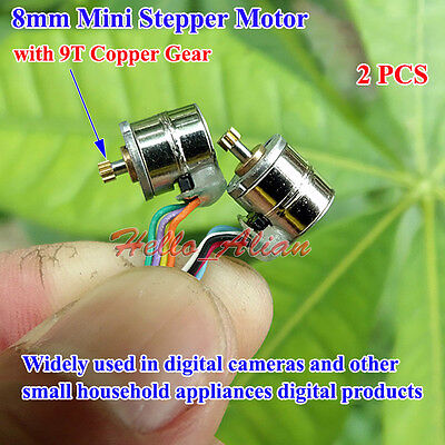 2PCS 2-phase 4-wire 8mm Micro Mini Stepper Stepping Motor Metal Copper Gear DIY