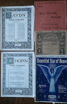 Bulk Lot of 5 Vintage Antique Sheet Music Books for Piano/Voice