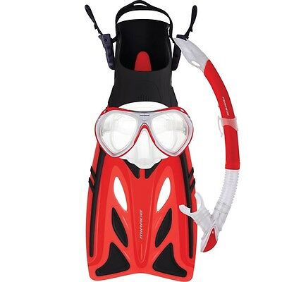 Mirage Crystal Kids Mask Snorkel Fin Flipper Package RED Size S/M