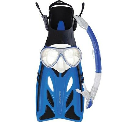 Mirage Crystal KIDS Pool Mask Snorkel Fin Flipper SET BLUE L/XL