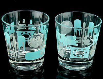 Pair Blue Heaven Cocktail Highball Glasses Glass Set Of 2 Mid Century Modern