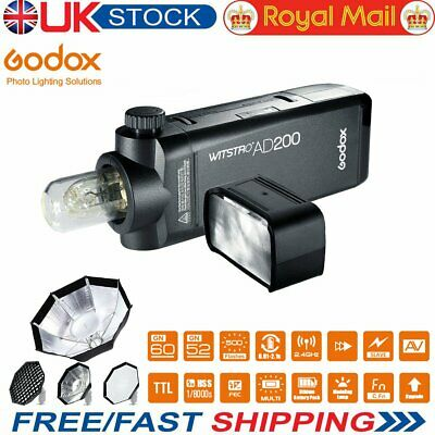 UK Godox 2.4 TTL 1/8000s Two Heads AD200 Pocket Flash + AD-S7 Softbox KIT