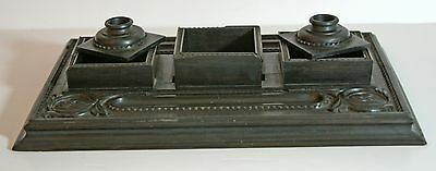 Vintage heavy carved ebony wooden desk tidy / inkstand with pen rests