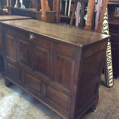 Large Oak Antique Early Victorian Mule Chest Coffer Trunk Box