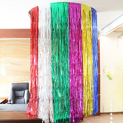 2M/3M Shimmer Metallic Foil Fringe Curtains Hanging Streamers Prom Party Decor
