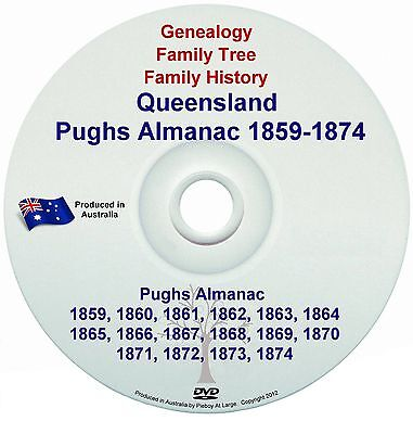 Family History Genealogy Queensland Pughs Almanac 1859 Directory Names Towns NEW