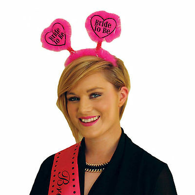Adult Black Pink Hen Night Party BRIDE TO BE Furry Heart Head Bopper