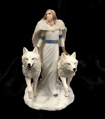 """*NEW* Anne Stokes"""" Winter Guardian""""Wolf With Angel FantasyFigurine Statue 23cm"""
