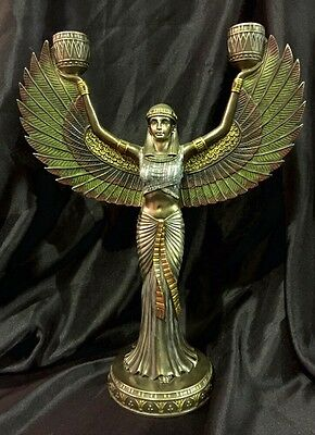 Bronze Coated Candleholder Statue Of Isis Egyptian Goddess  33cm H