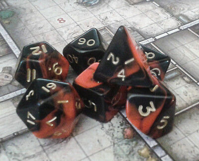 Oblivion Dice Set - 7 RED poly dice - Dungeons and Dragons - D20 RPG