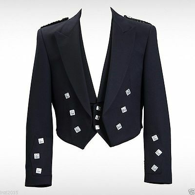 New Mens Scottish Prince Charlie Kilt Jacket & Waistcoat Wedding/Party Dress