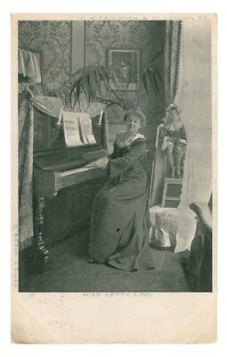 Gaiety Stage Actress And Acrobat Letty Lind At The Piano Vintage Postcard