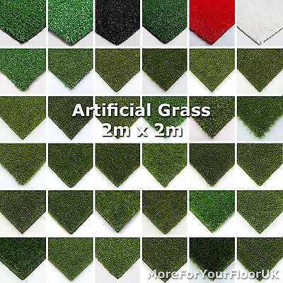 2m x 2m Astro Artificial Garden Grass Realistic Natural Looking Turf Fake Lawn