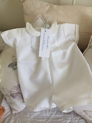 Baby Clothes Classic Boys Romper Suit Christening White Vintage Traditional