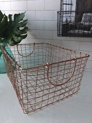 Copper Wire Metal Storage Basket Handles Filing Crate Rectangle Office Kitchen