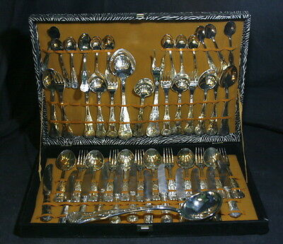 Vintage 51 pc Silver Plate Set – In Fitted Canteen – Kings Pattern