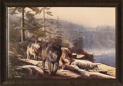 STALKING THE BLUFFS by Kevin Daniel 28x40 FRAMED PRINT Wolf Wolves Wildlife