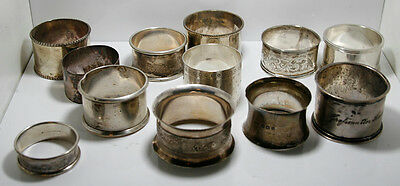 12 Assorted Round Sterling Silver & Silverplate Napkin Rings