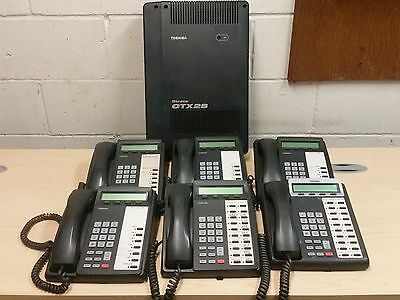 toshiba strata ctx28 office phone system with 6 phones