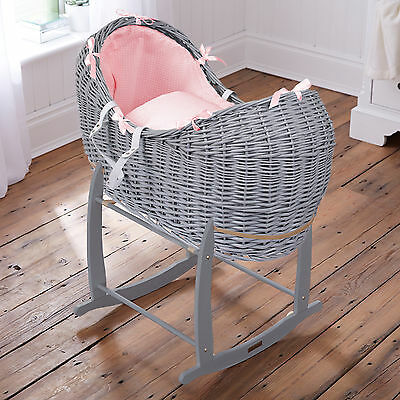 Clair De Lune Pink Waffle Grey Wicker Moses Basket Noah Pod & Rocking Stand