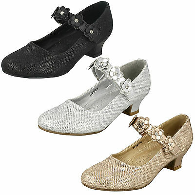 Girls Glittery Mid Heel Party Shoes / Sizes 10x2 H3068