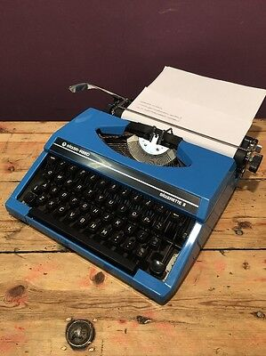 Silver-Reed Silverette II, Portable Typewriter, Bright Blue 1980