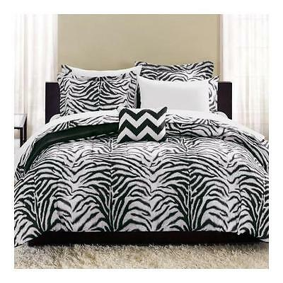 Mainstays Zebra Bed in a Bag Complete Bedding Set | Black / White | Size: Twin