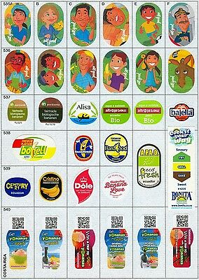 (144) 33 Different Banana Labels Stickers Still Unused In Original Backing Paper
