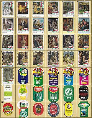 (203) 42 Different Banana Labels Stickers Still Unused In Original Backing Paper