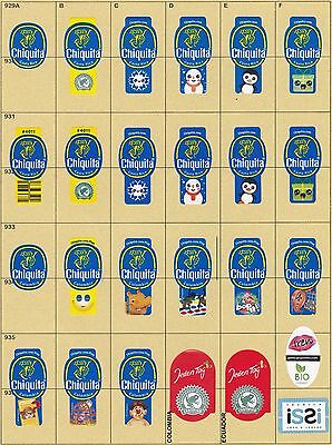 (205) 25 Different Banana Labels Stickers Still Unused In Original Backing Paper