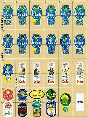 (207) 28 Different Banana Labels Stickers Still Unused In Original Backing Paper