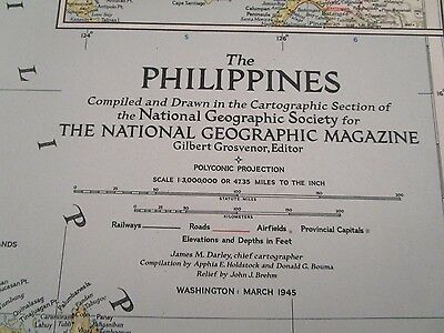 Vintage Map: The Phillippines March 1945 National Geographic {3010-6}