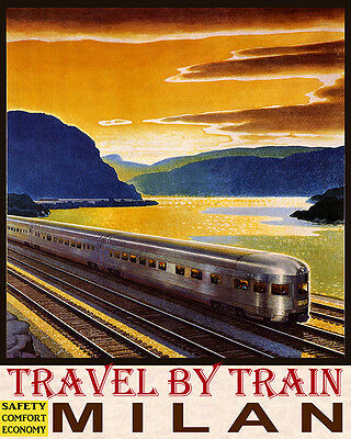 Poster Travel By Train Safety Comfort Economy Milan Italy Vintage Repro Free S/h