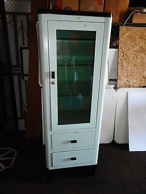 Vintage Industrial Green Metal Medical Cabinet- glass with two drawers 1940s