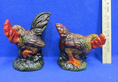 Rooster & Chicken Figurine Set Matching Ceramic Pottery Vintage Farm Hen Pair