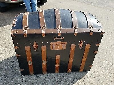 Antique Dome Top Steamer Trunk Chest