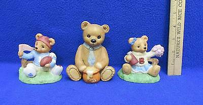 Homco Ceramic Bears Game Day Football Player & Cheerleader Proud Dad Lot of 3