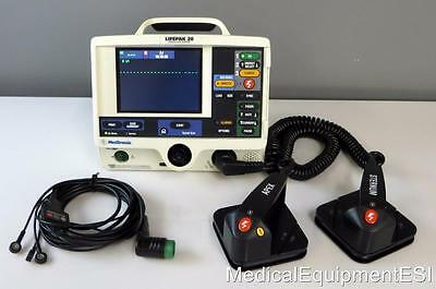 Physio-Control Lifepak 20 Biphasic 3 Lead ECG AED Pacing Hard Paddles