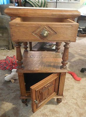 Antique French 1850s Oak Marble Top Stand  GORGEOUS AND UNIQUE