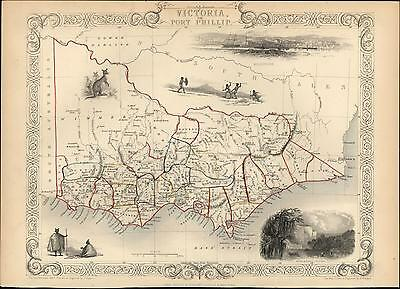 Victoria Port Phillip Melbourne Australia 1851 decorative Tallis old antique map
