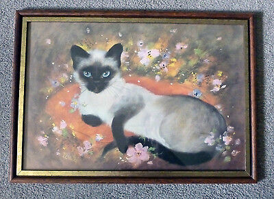 "Vintage Framed Siamese Cat Kitty 18.5"" x 12.5"" ""Thai"" Art Print by Alicec Wedel"