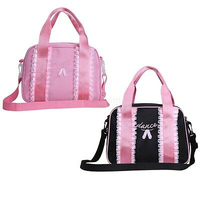 Girls Pink Tote Dance Bag Embroidered Lace Ballet Tutu Hand Bag Detachable Strap