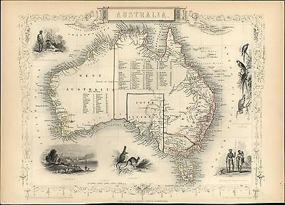 Australia kangaroos aborigines parrots New Holland 1851 Tallis decorative map