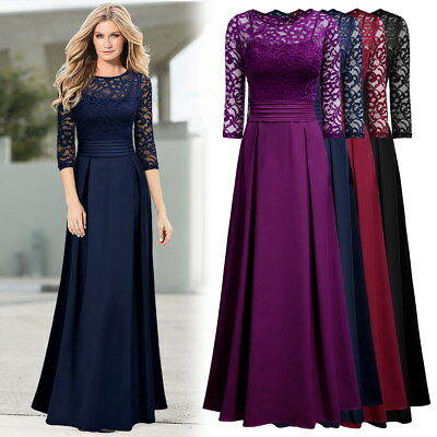 Women's Long Formal Eveing Party Maxi Wedding Gowns Cocktail Lace Full Dresses