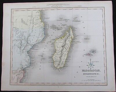 Madagascar Mozambique Mauritius Islands Africa 1848 Gilbert Archer rare old map