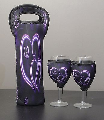 Purple Heart bottle carrier and wine glass coolers